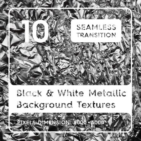 10 Black & White Metallic Background Textures