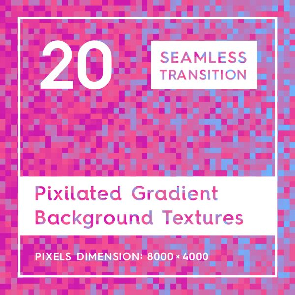 20 Seamless Pixilated Gradient Background Textures