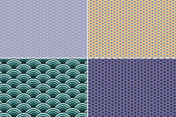 Seigaiha Patterns Preview Set 1