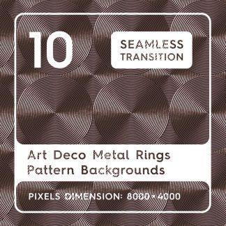 10 Art Deco Metal Rings Pattern Backgrounds