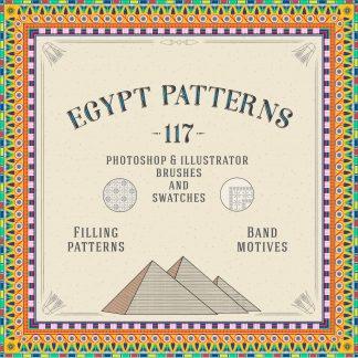 117 Egypt Patterns Brushes & Swatches for Illustrator & Photoshop