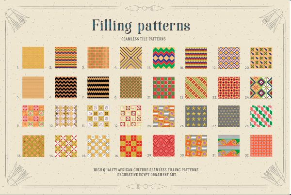Egypt Filling Patterns for Illustrator & Photoshop