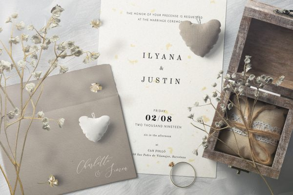 Decorative Paper Background Textures Invitation Card and Envelope with Plush Hearts Preview