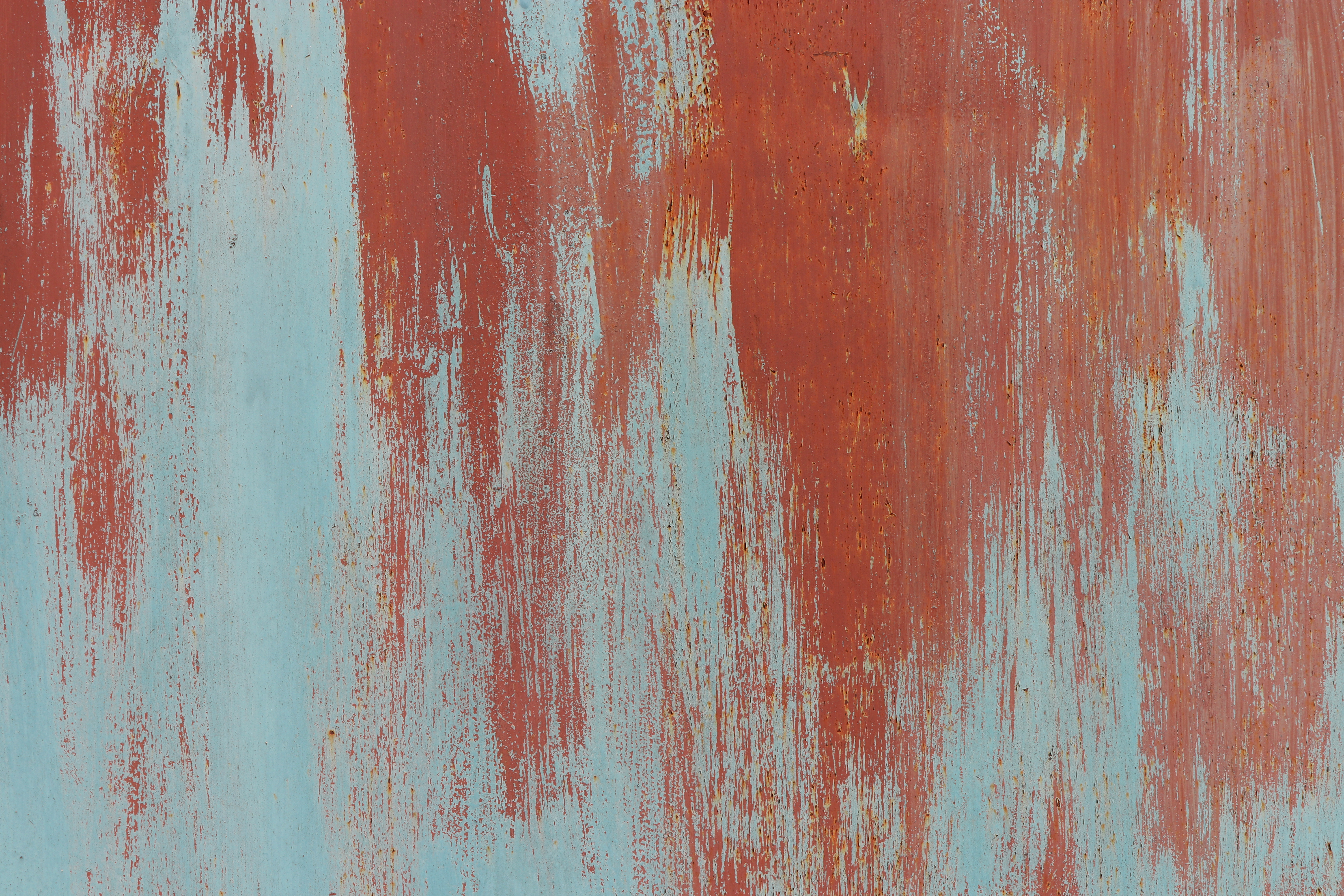 Old Weathered Blue Rust on Red Painted Wall Texture. Brush Strokes.