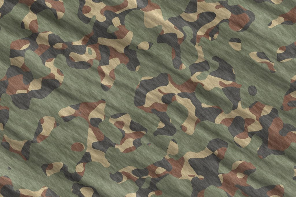Green Army Camouflage Background. Military Camo Clothing Texture. Seamless Combat Uniform.