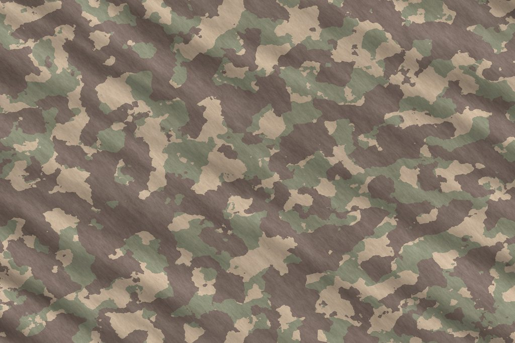 Weathered Green Army Camouflage Background. Military Camo Clothing Texture. Seamless Combat Uniform.