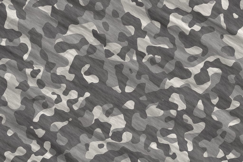 Black and White Army Camouflage Background. Military Camo Clothing Texture. Seamless Combat Uniform.