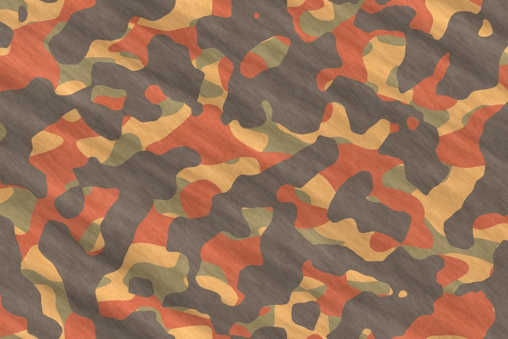 Orange Army Camouflage Background. Military Camo Clothing Texture. Seamless Combat Uniform.