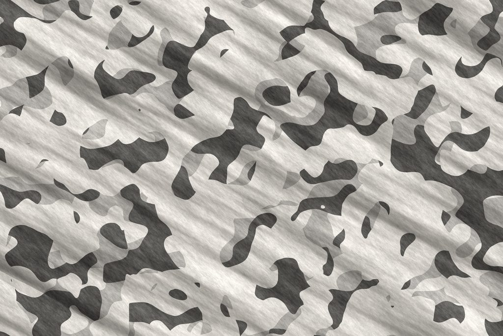 Gray Army Camouflage Background. Military Camo Clothing Texture. Seamless Combat Uniform.