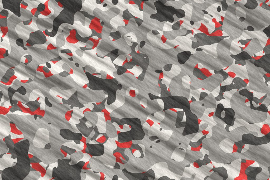 Gray Red Army Camouflage Background. Military Camo Clothing Texture. Seamless Combat Uniform.