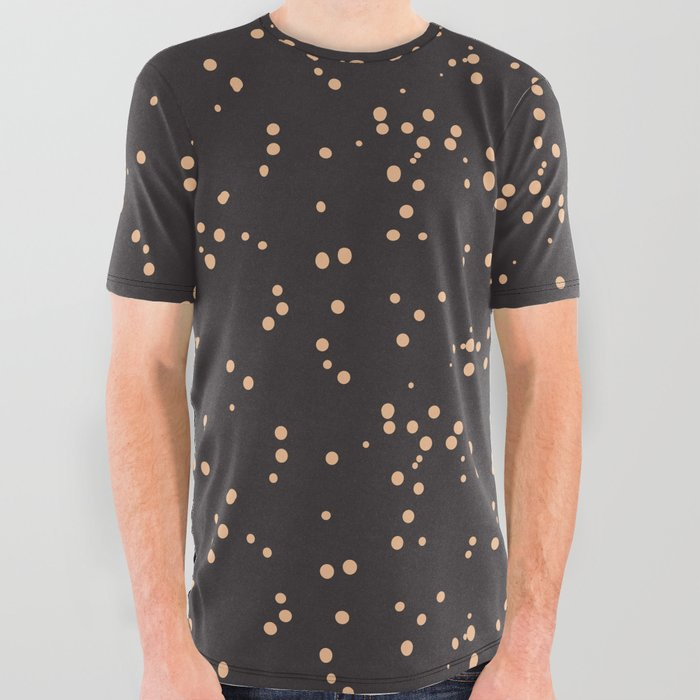 Beige Brown Shambolic Bubbles All Over Graphic Tee