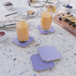 Blue Violet Cell Checks Coaster