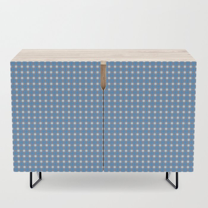 Blue Yellow Cell Checks Credenza