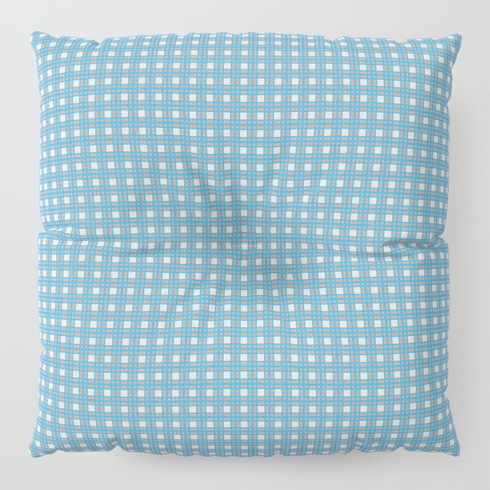 Blue Yellow Cell Checks Floor Pillow