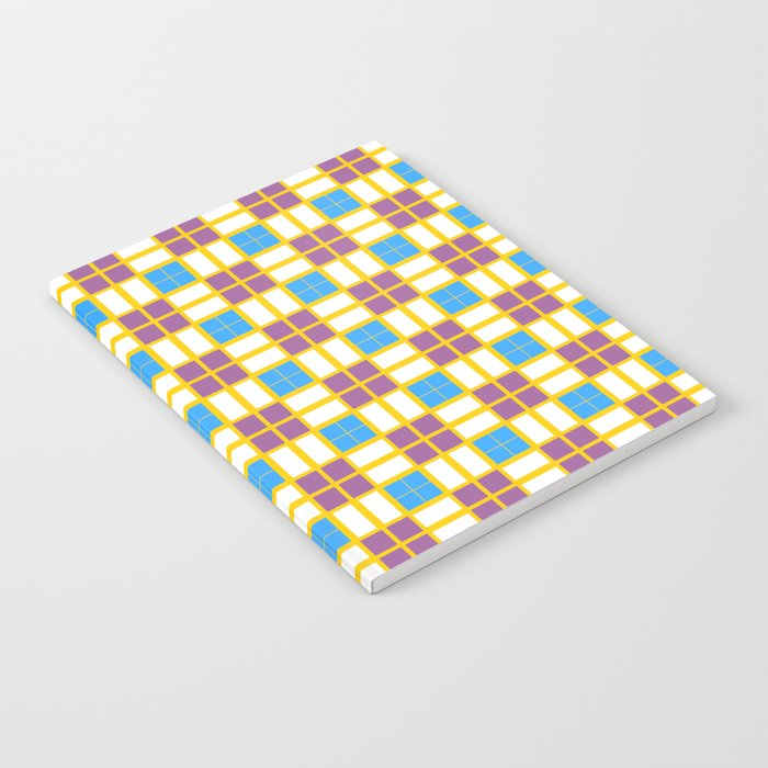 Blue Yellow Dark Purple Cell Checks Notebook