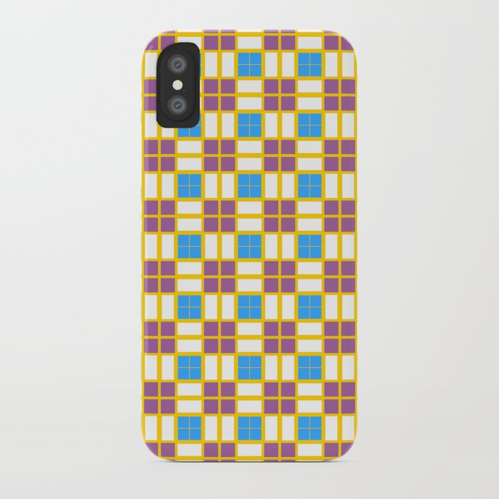 Blue Yellow Dark Purple Cell Checks iPhone Case