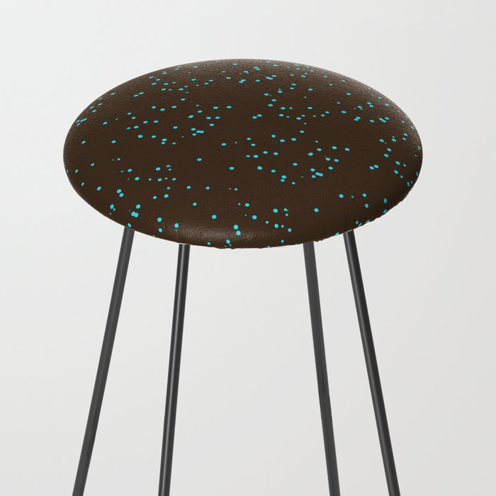 Brown Turquoise Shambolic Bubbles Counter Stool