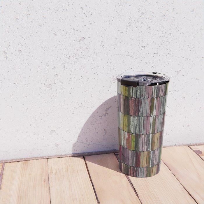 Colored Old Painted Wood Planks Travel Mug
