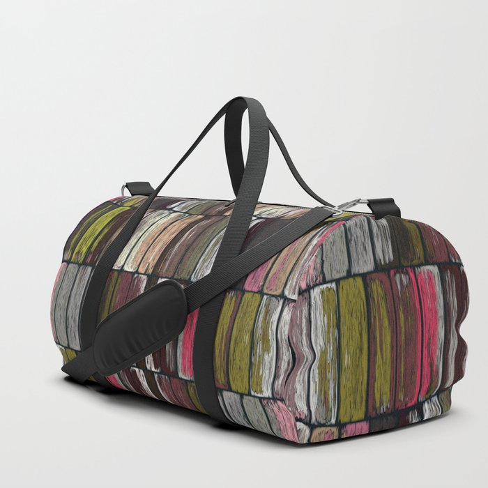Colored Weathered Wood Board Panel Duffle Bag