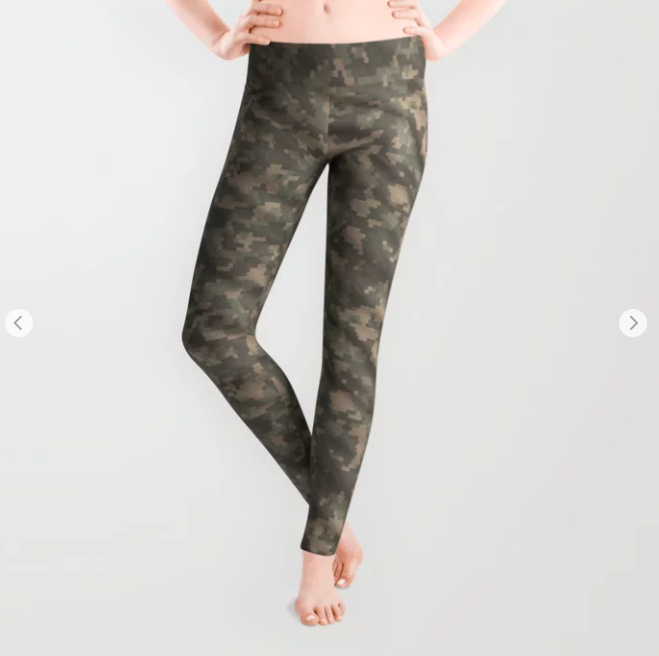 Dark Green Army Camouflage Leggings
