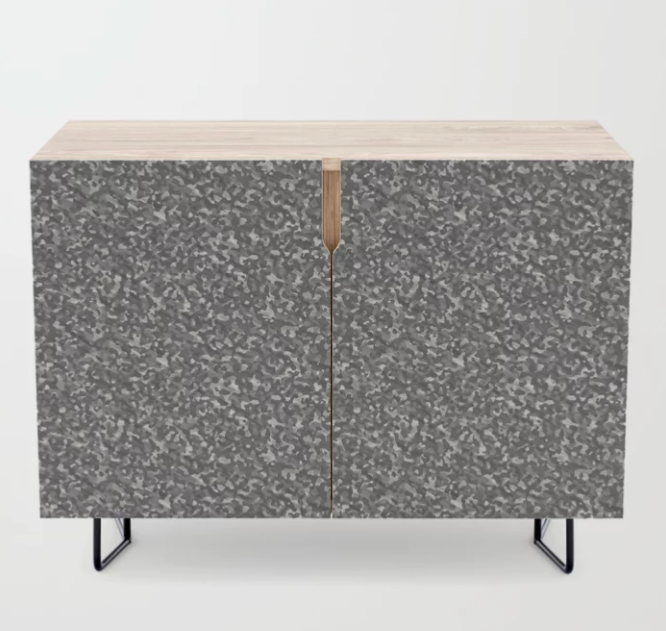 Gray Army Camouflage Credenza
