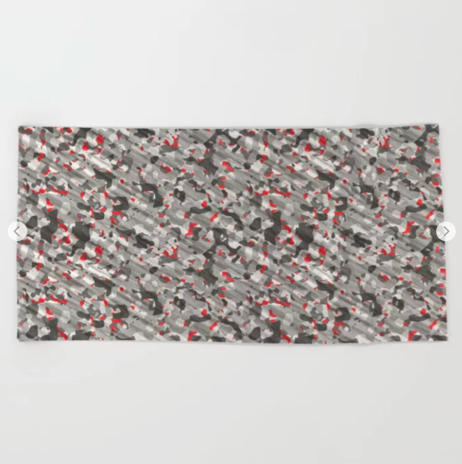 Gray Red Army Camouflage Beach Towel