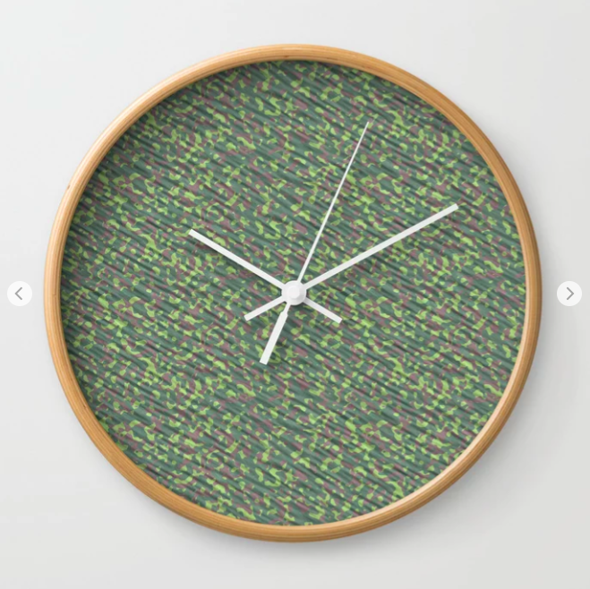 Lime Green Brown Army Camouflage Wall Clock