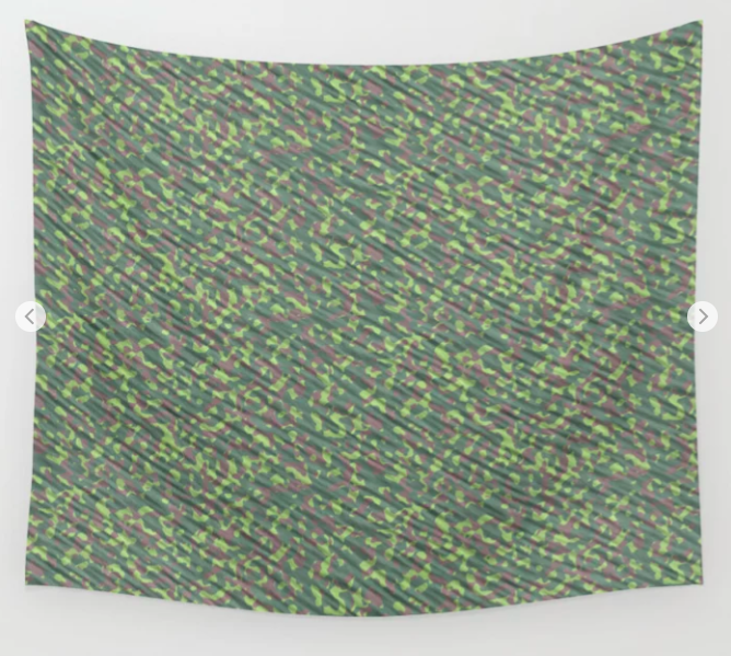 Lime Green Brown Army Camouflage Wall Tapestry