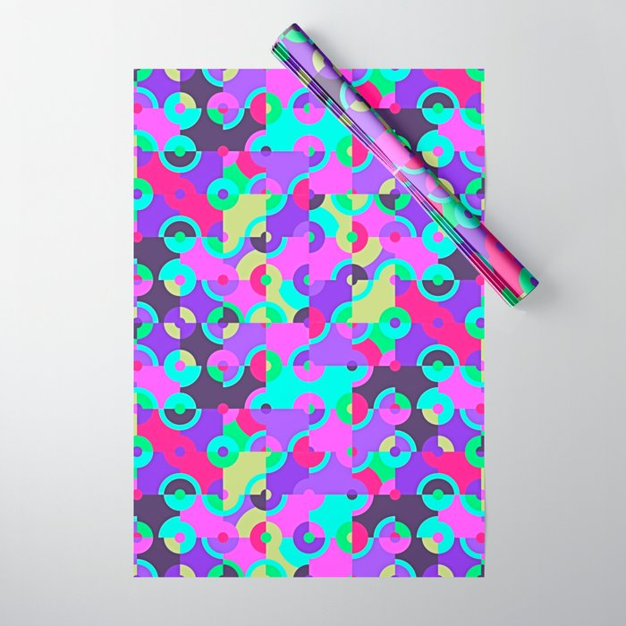 Multicolor Circle Quarters Wrapping Paper