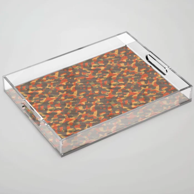 Orange Army Camouflage Acrylic Tray