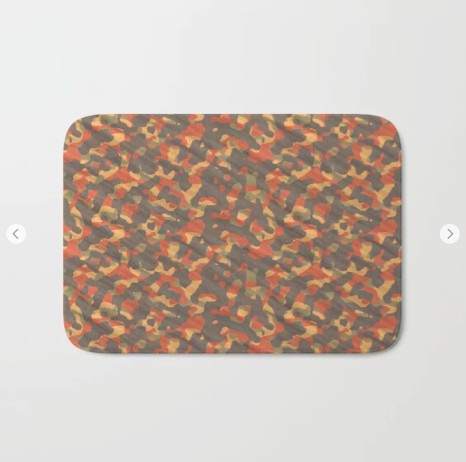 Orange Army Camouflage Bath Mat