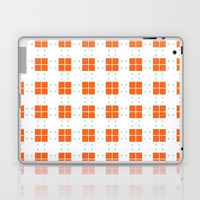 Orange Blue Cell Checks Laptop & iPad Skin