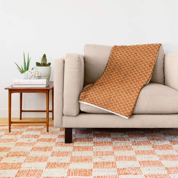 Orange Yellow Cell Checks Throw Blanket