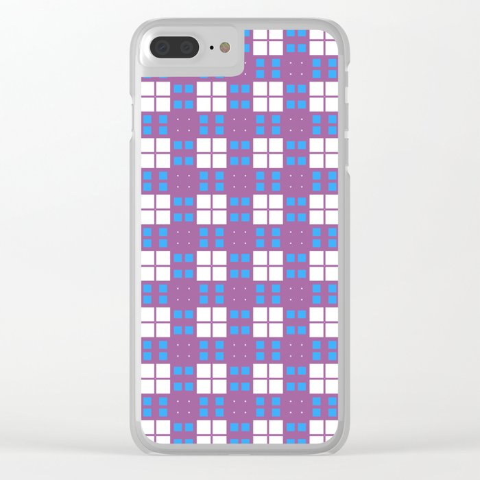 Purple Blue Cell Checks Clear iPhone Case