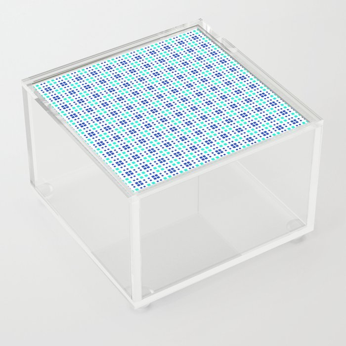 Turquoise Blue Cell Checks Acrylic Box