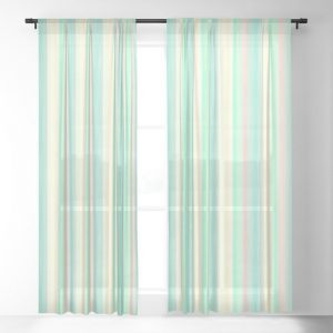 Turquoise Light Yellow Scrapbook Sherbert Sheer Curtain