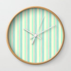 Turquoise Light Yellow Scrapbook Sherbert Wall Clock