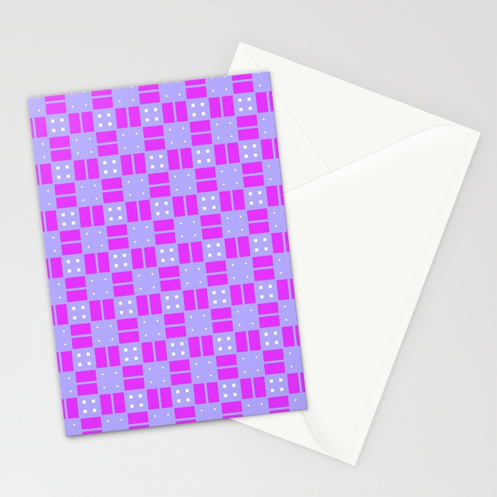Violet Purple Cell Checks Stationery Cards