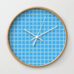 Yellow Blue White Cell Checks Wall Clock