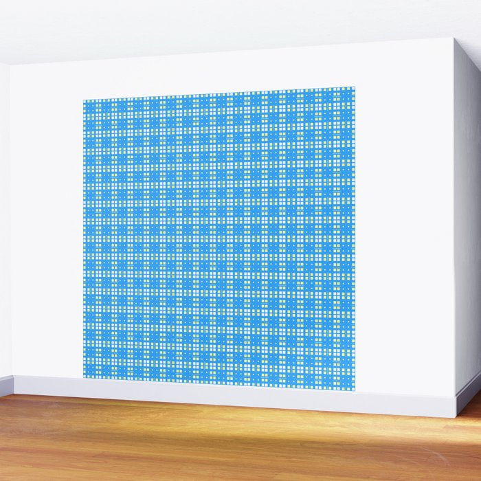 Yellow Blue White Cell Checks Wall Mural