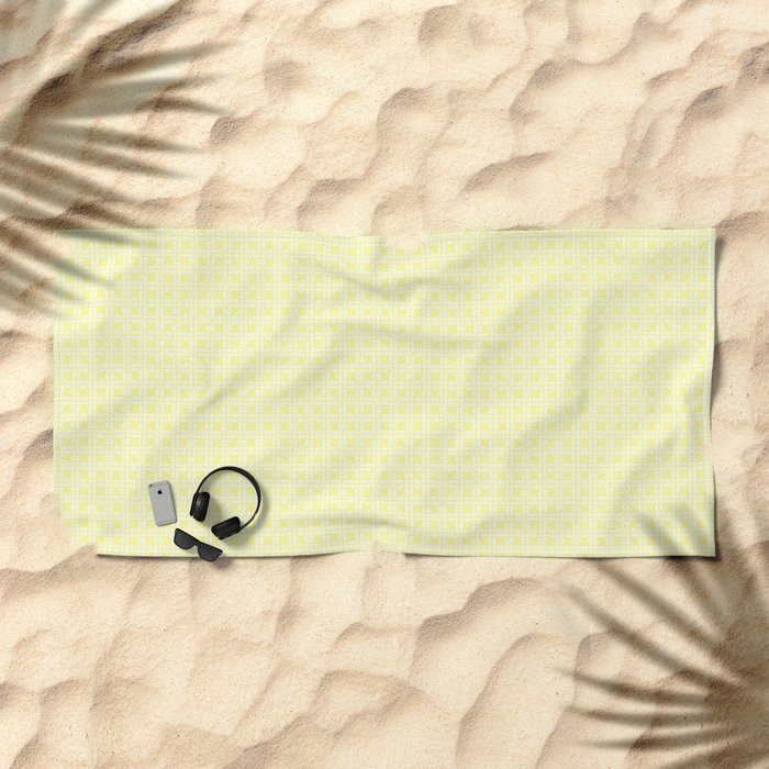 Yellow Cell Checks Beach Towel