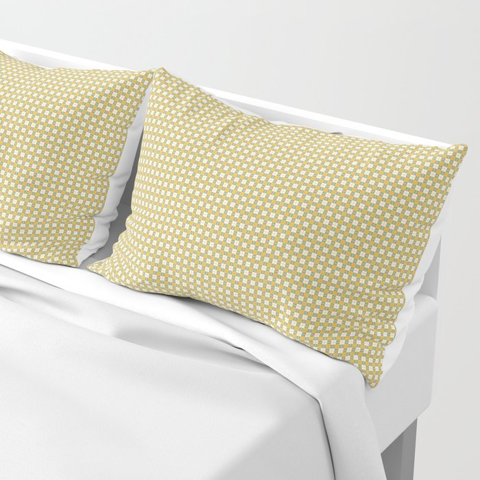 Yellow Cell Checks Pillow Sham