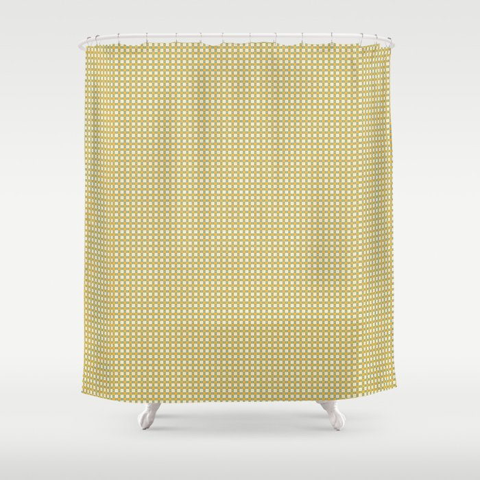 Yellow Cell Checks Shower Curtain