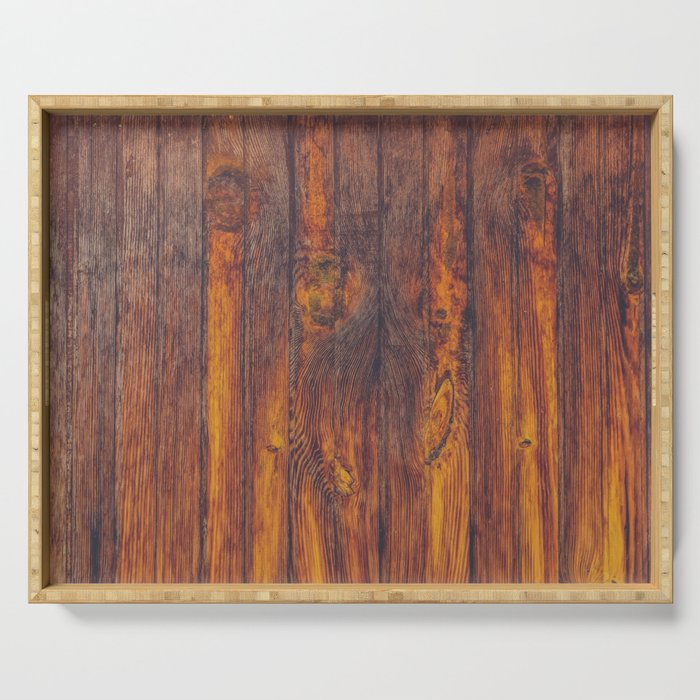 Dark Vertical Wood Planks Wall Serving Tray
