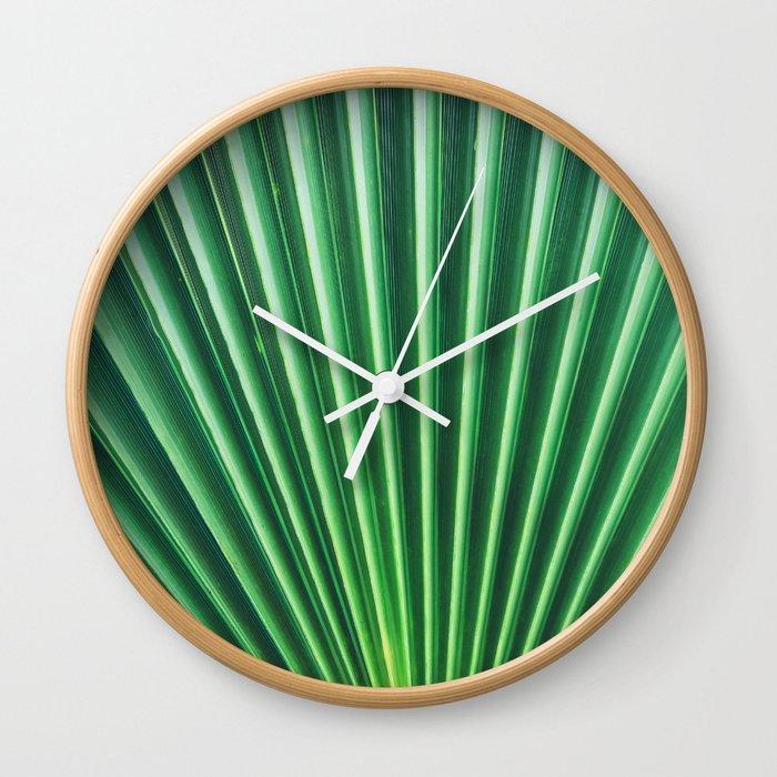 Palm Leaf Texture Wall Clock