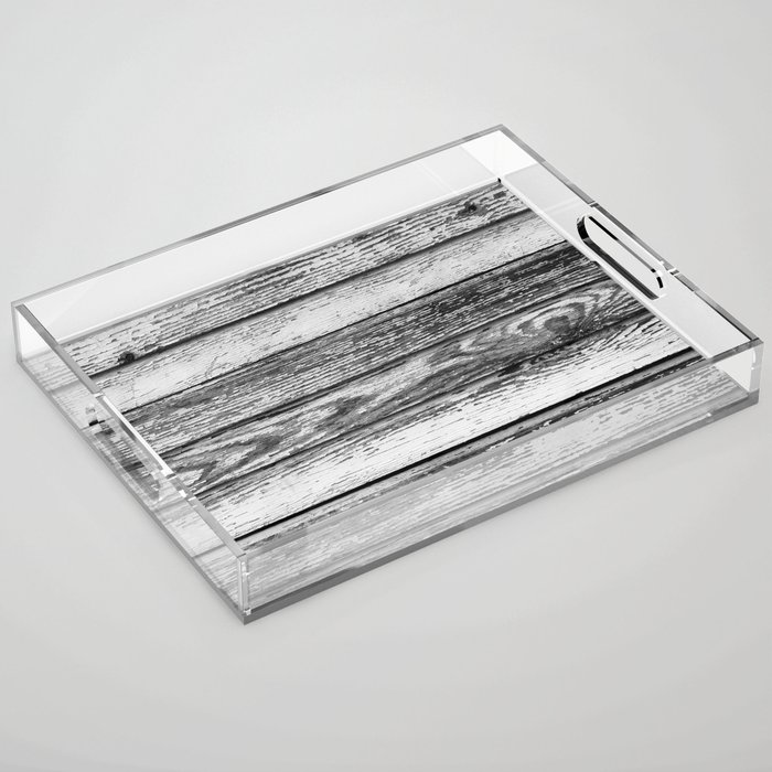 Weathered White Wood Wall Acrylic Tray