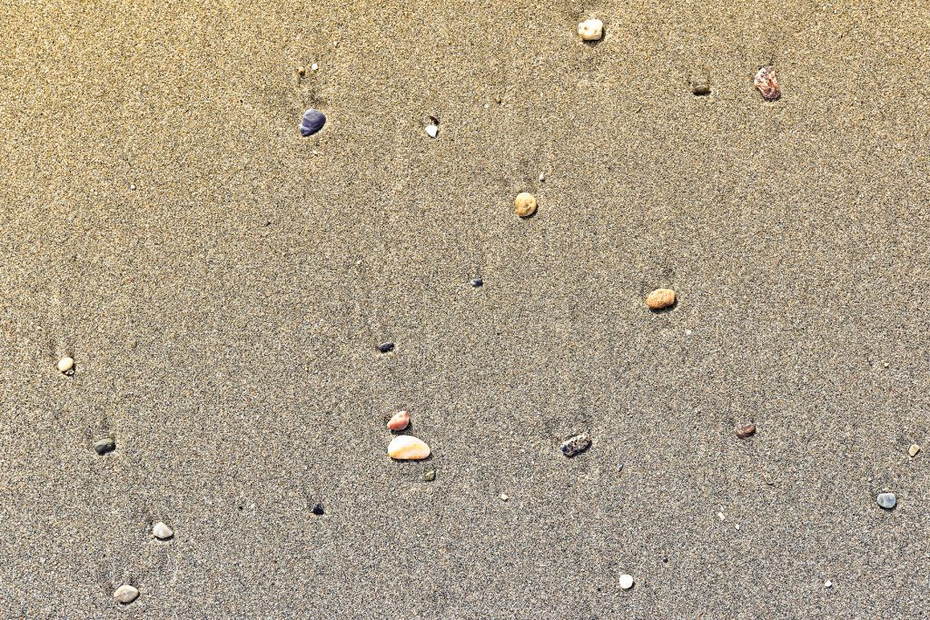 Different stones with stains on the wet sand. Rare pebble background. Beach beauty backdrop.