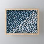 Black and White Pebble Framed Mini Art Print