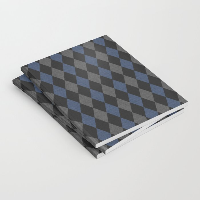 Blue Gray Rhombus Knitted Weaving Notebook