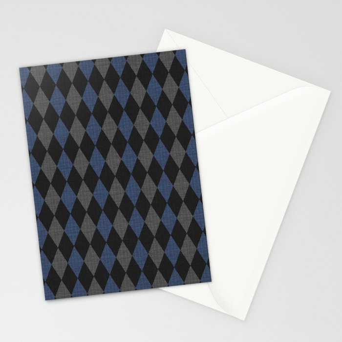 Blue Gray Rhombus Knitted Weaving Stationery Cards